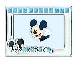 Idea Regalo - Disney Topolino Mickey Mouse - Cornice Porta Foto da Tavolo in Argento per Neonato Personalizzabile con il Nome del Bambino - Tutti gli stickers adesivi sono inclusi