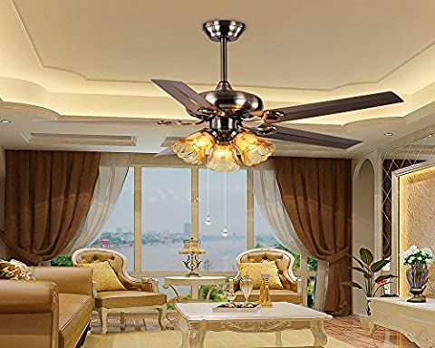 sdkky Deckenventilatoren, Fans, Kronleuchter, Lampen, Ventilatoren, Palace Style Kronleuchter, Fan Lichter, LED Iron leaves with rope to open