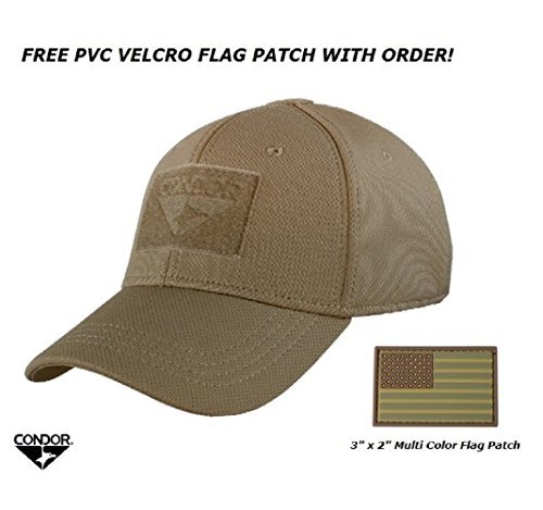 Condor Flex Tactical Cap (Brown, S/M) + FREE PVC Flag Patch by Condor  Outdoor