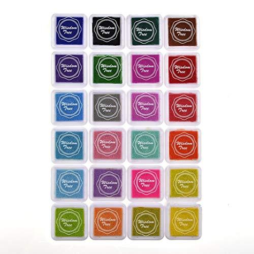 Yunbaozi Almohadilla Tinta 24 Colores, Kit Tinta DIY Huella Dactilar Craft del Arco Iris Ink Pad Stamps Sello Dedo Tóxico para Niño, Fiesta, Decoración de la Boda