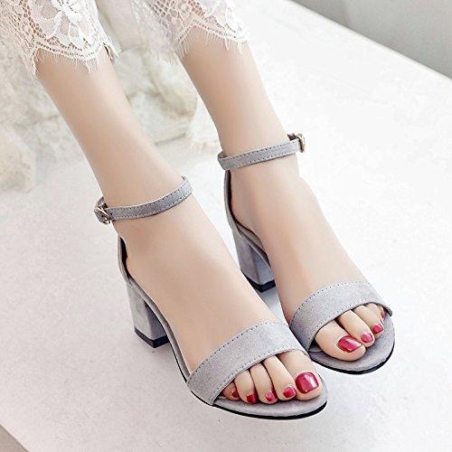 RUGAI-UE Spesso Sandali con tacco Scarpe estive tacchi alti Gray