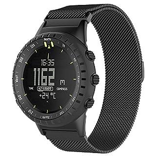 Teepao Band für Suunto Core Watch, Ersatzband für die Suunto Core, Zubehör, Uhrenarmband, erstklassige Mailänder Schleife, Edelstahlarmband mit Magnetverschluss., Schwarz