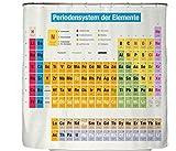 Duschvorhang Periodensystem Chemie Auf Deutsch - 180x200 cm Badewannenvorhang 100% Polyester Mit Zwölf Haken In Premium Qualität