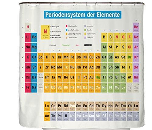 Duschvorhang Periodensystem Chemie Auf Deutsch - 180x200 cm Badewannenvorhang 100% Polyester Mit Zwölf Haken In Premium Qualität Periodensystem Duschvorhang