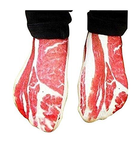 Huertuer Universal Funny Schweinefleisch Speck Low Cut Casual Knöchel Paar Baumwolle Socken (Rot + Weiß) (Casual Low Socken)