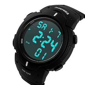 ufengke®Sports piscine imperméable lumineux calendrier horloge alarme horloge lumière électronique montre à bracelet pour hommes garçons-noir