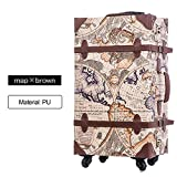 BTM Handmade Lightweight Ancient Vintage Travel Luggage Carry Bag Case suitcase Baggage (M, map and brown)