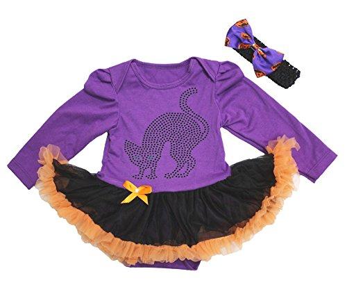 Petitebelle Halloween Baby Dress Black Cat Purple L/s Bodysuit Black Tutu Nb-18m (3-6 (Kind Tutu Black Cat Kostüm)