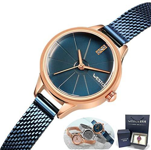 Damen Quarzuhr, Wasserdichte Damenuhr + Professionelle Verpackungs Geschenkbox, Ultradünne Analoge Quarz-Edelstahl-Rose Gold, Einfache Lässige Uhr Damen,Blue