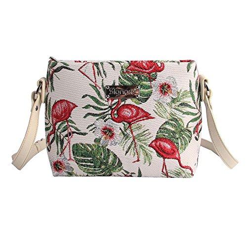 Modische Tapisserie Damen Schultertasche, Bodybag oder Messengertasche in Signare Tier (Flamingo)