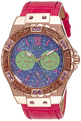 Guess Damen Analog Quarz Uhr mit Leder Armband W0775L4