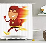 Best Man Lightning Bolts - ruichangshichengjie Superhero Shower Curtain Set, Lightning Bolt Man Review