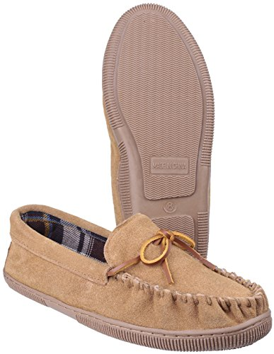 Mirak Mens Alberta Suede Textile Lined Moccasin Style Slipper Brown Hautfarben
