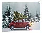 Unbekannt LED Wandbild Weihnachtsbaum beleuchtet Auto 40 cm x 30 cm