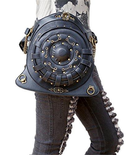lovezhou Steampunk New Handtaschen PU-Leder Frauen Retro Geldbörse vielseitig rund schwarz Taschen (Leder-motorrad-kette Geldbörse)