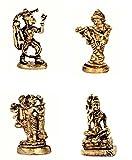 purpledip Rare Miniatur Statue Set Hindu Götter (Krishna, Hanuman, Shiva, brahma-vishnu-mahesha): Einzigartiges Sammlerstück Geschenk (11181)