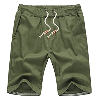 AIYINO Mens Cotton Casual Classic Fit Summer shorts UK S Army Green