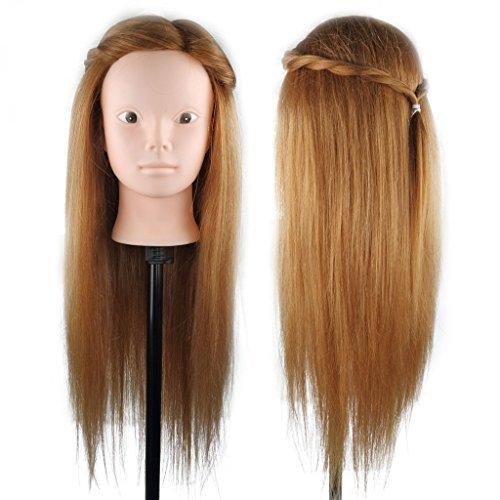 Tête d'apprentissage Tête à Coiffer Tête d'exercice Mannequin Head 58 cm 80% Vrais Cheveux Humains