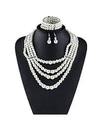 c452fd051a26 HSNZZPP Collar De Las Mujeres Perla Del Collar De Perlas De Múltiples Capas  De La Perla
