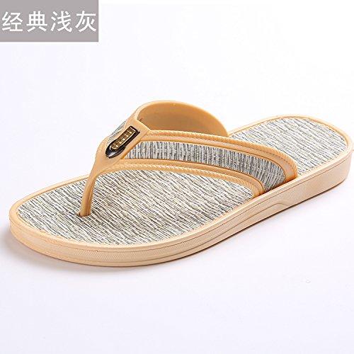 Chaussons, tongs, pieds de pin, pantoufles maison, tongs occasionnels et simples chaussures de plage antidérapage light gray