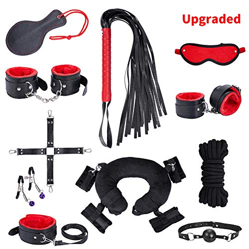 SM Bondage Set BDSM Fesselset SM Sexspielzeug Extrem Betten Fesseln mit Handschellen mit Augenmaske Erotik Für Liebhaber Paare Einsteiger und Erfahr