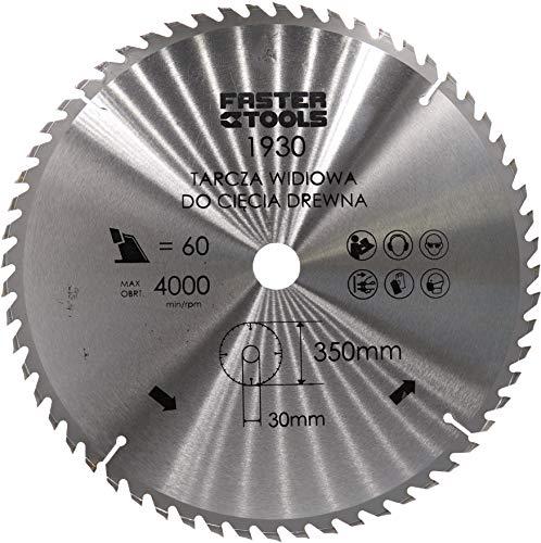 HM-Kreissägeblatt für Holz 350 x 30 mm mit 60 Zähne Nagelfest zum schneiden von Bauholz, Leimholz Brennholz mit Kreissäge Wippsäge Kappsäge und Tischkreissäge