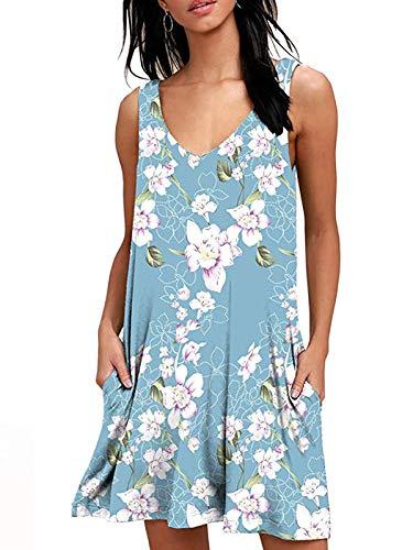 Damen Kurze Elegant Strandkleid Casual Ärmellos T-Shirt Kleid Blumen Bedrucktes Kleider mit Taschen ()