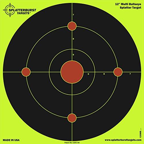 Paquet de 25 - 30,5 cm Multi Bullseye Splatterburst Objectifs de tir - Les coups jaunes fluorescents brillants sont faciles à voir - Excellente pour toutes les armes à feu, fusils, pistolets, fusils.