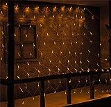 LUCKY CLOVER-A 96 LED 1.5 * 1,5 Meter Funkeln Netz Fairy String Light 8 Flash Modi Wedding Party wasserdicht Home Garden Night Light Xmas Dekoration , warm white