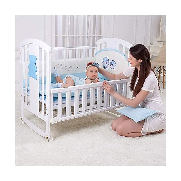 QINYUN Crib Solid Wood Multi-function Baby Cradle Bed Newborn Splicing Big Bed With Roller QINYUN 1. The crib is a safe, comfortable and easy to use bed that enhances the child's newly discovered independence. 2. Storage function - increase the storage space, convenient for the treasure mother to store the baby toy splicing storage board, and it is more convenient to change the table later. 3. It can give the baby enough security and let the baby enjoy a comfortable sleep. You don't have to worry about your baby's sleep quality anymore. 6