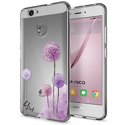 NALIA Handyhülle kompatibel mit Huawei Nova, Slim Silikon Motiv Case Cover Hülle Crystal Schutzhülle Dünn Durchsichtig, Etui Handy-Tasche Back-Cover Smart-Phone Bumper, Designs:Dandelion Pink