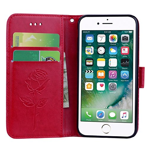 Wkae Roses Pressed Blumen Pattern Flip Leder Tasche mit Halter & Card Slots & Wallet Fro iPhone 7 Plus iPhone 8 Plus ( Color : Rose gold ) Red