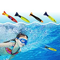 KISSION 4Pcs Swimming Pool Diving Throwing Toy Imitation Torpedo Rocket Shape Summer Beach Children Underwater Play Dive Sticks Toys