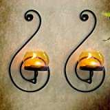 Tied Ribbons T-Light Holder /Wall Sconce Holder Pack Of 2(Black, Metal) (Yellow White Red) | tealight candle holders | gift for house warming function | home decor accessories