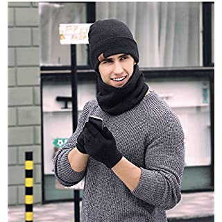 Men's Knitted Hat, Touch Screen Gloves And Scarf Autumn & Winter Cold Weather Windproof Warm Keeping Knitted Accessory Three-Piece Set, Fashionable Winter Gift (Dark Grey)