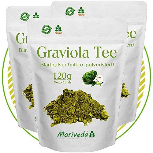 Graviola 360g Blattpulver Tee Sauersack Annona Muricata (3x120g Pulver)