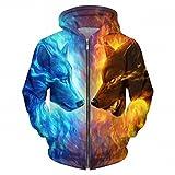 Nuovi uomini/donne divertente 3D Hoodies animale Mens di ghiaccio e di fuoco Lupo 3D STAMPATA Felpa moda giacca casual Plus Uomo dimensioni 5XL come immagine M