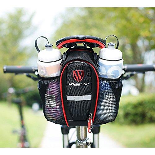 Fahrrad satteltasche, Meansuns Fahrrad Reflektierender Streifen Rahmentasche Satteltasche mit Flaschenhalter für Rennrad Mountainbike Handy Wertsachen Red
