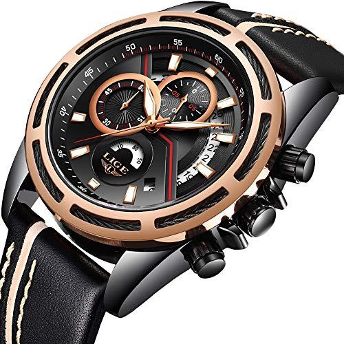 Relojes Hombres Deportes Cuarzo Analógico Cronógrafo Reloj Hombre Marca de Lujo LIGE Moda Cronómetro Fecha Reloj de Cuero Correa de Cuero Negr