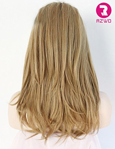 RZWD Synthetic Hair Straight Blonde Ombre Wig Dark Roots Highlights Lace Front Wigs for Women Heat Resistant Fiber Half Hand Tied