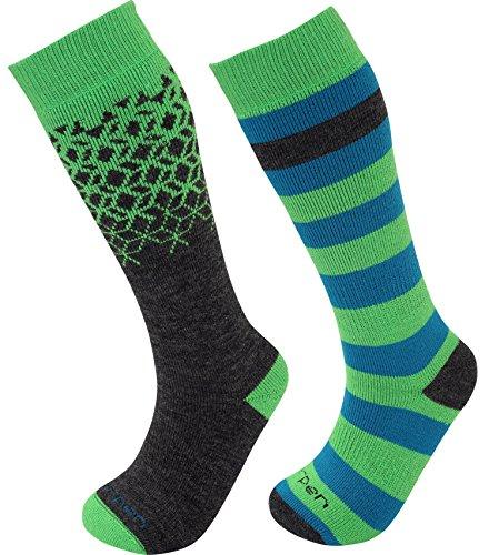 Lorpen Merino Wandersocken TCXTM Kinder Ski Socken (2er Pack), unisex, blau / grün (Lorpen Merino Ski Socken)