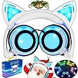 Cascos con cargador USB, plegables, en diseño de orejas de gato, con cable ajustable, luz flash azul, para teléfonos móviles iPhone 7, 6S, iPad, Android y Macbook, Azul/Blanco