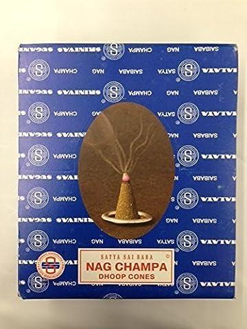 buycrafty Satya Sai Baba Nagchampa Dhoop Cones 12Boxen von 12Dhoop Kegel mit Ständer