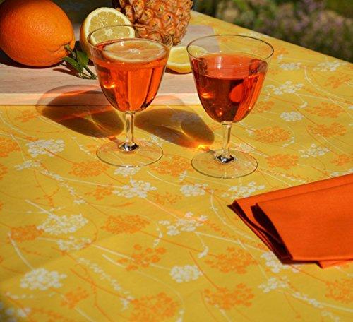 Fleur de soleil Nappe Herbes folles Jaune Coton Enduit 120x120