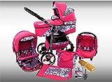 Ferriley & Fitz Daytona Kinderwagen Sommer-Set (Sonnenschirm, Autositz & Adapter, Regenschutz, Moskitonetz, Getränkehalter, Schwenkräder) 71 Rosa & Graphit Blumen