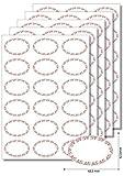 90 Etiketten oval Ornamente rot zum Bedrucken, Beschriften, DIN A4, selbstklebend, leicht ablösbar, Marmeladenetiketten Haushaltsetiketten