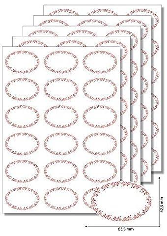 90 Étiquettes ovales ornements rouge-étiquettes à imprimer format a4 faciles à décoller marmeladenetiketten haushaltsetiketten