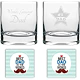YaYa Cafe Birthday Gifts For Father, Worlds Greatest Starry Dad Whisky Glass For Dad Set Of 2-325 Ml