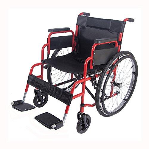 Panana faltbarer Rollstuhl mit hohen Griffen Transportrollstuhl Reiserollstuhle Sitzbreite: 46 cm - Rot