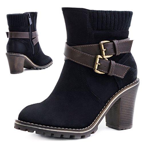 Damen Stiefel Stiefeletten Chelsea Boots mit Blockabsatz Schwarz